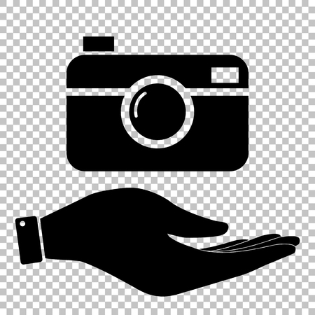 whim of fashion: Digital photo camera icon. Save or protect symbol by hand