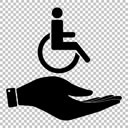 one man only: Disabled sign. Save or protect symbol by hand