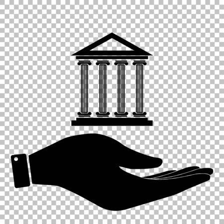 historical: Historical building. Flat style icon vector illustration.