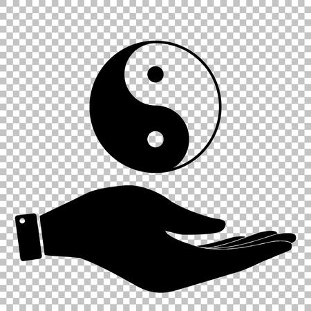 contrasts: Ying yang symbol of harmony and balance. Flat style icon. Black vector illustration. Illustration