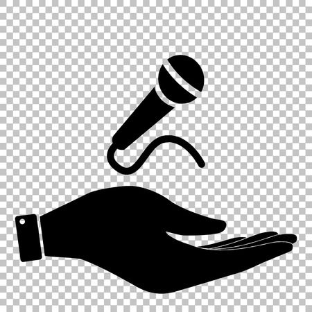 amplification: Microphone sign. Flat style icon vector illustration. Illustration
