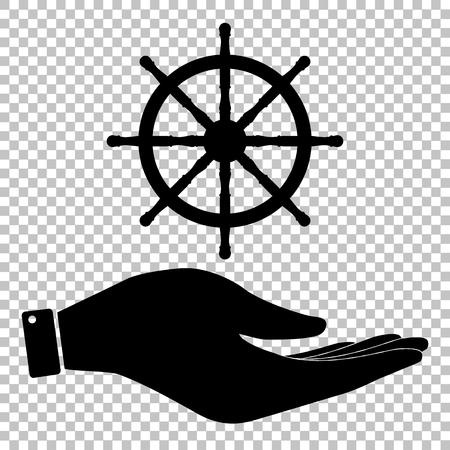 mariner: Ship wheel sign. Flat style icon vector illustration. Illustration
