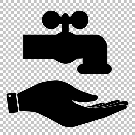 spew: Water faucet sign. Save or protect symbol by hand Illustration