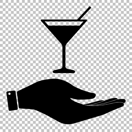 coctail: Coctail sign. Save or protect symbol by hand
