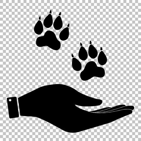 Animal Tracks signent. icône vecteur plat de style illustration.