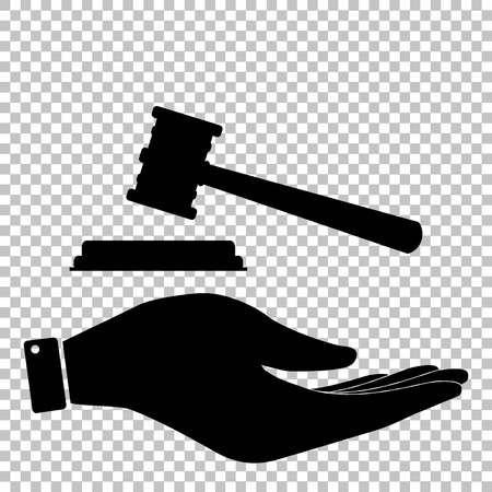 justice hammer: Justice hammer sign. Save or protect symbol by hand