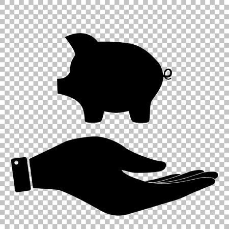 moneyed: Pig money bank sign. Save or protect symbol by hand