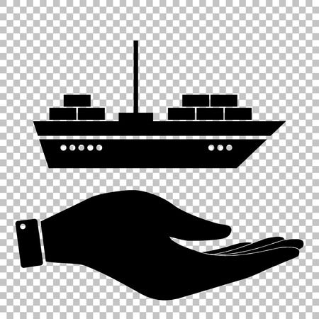 inflate boat: Ship sign. Save or protect symbol by hand Illustration