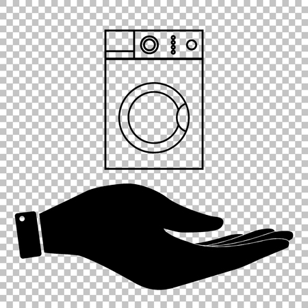 major household appliance: Washing machine sign. Save or protect symbol by hand