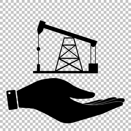 Oil drilling rig sign. Save or protect symbol by hand