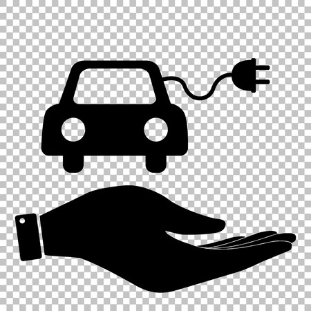 echnology: Eco electrocar sign. Save or protect symbol by hand