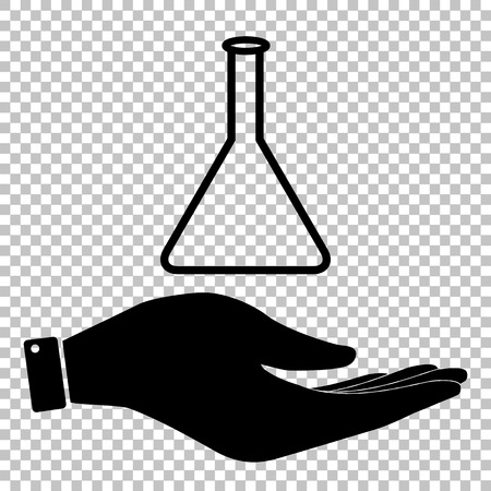 conical: Conical Flask sign. Save or protect symbol by hand