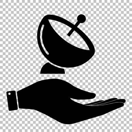 signe Antenne parabolique. Enregistrer ou protéger le symbole à la main