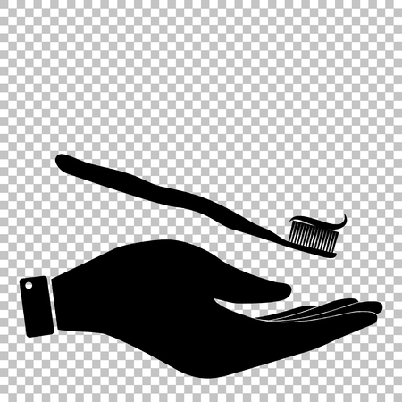 applied: Toothbrush with applied toothpaste portion. Flat style icon vector illustration.