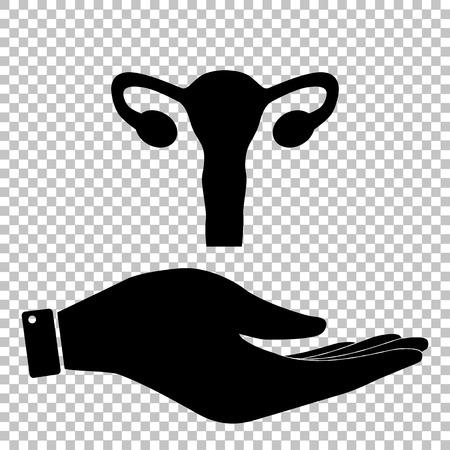 testiculos: Anatomía del cuerpo humano. signo útero. Icono de la ilustración vectorial de estilo plano. Vectores