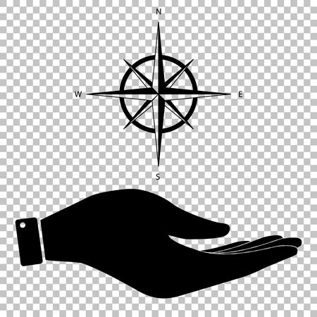 rosa de los vientos: El viento se levant� signo. Salvar o proteger s�mbolo de la mano