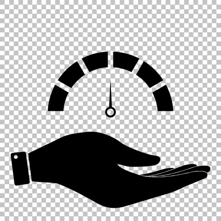 warning indicator: Speedometer sign. Save or protect symbol by hand Illustration
