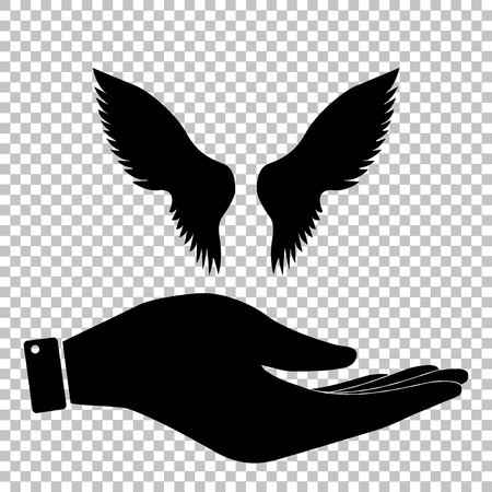 Wings sign. Flat style icon vector illustration