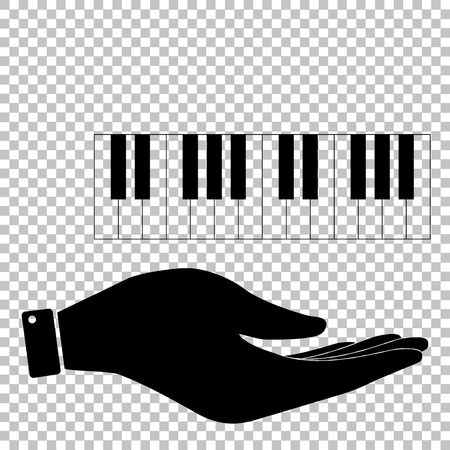 Piano Keyboard  sign. Save or protect symbol by hand Illustration