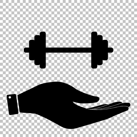 heavy load: Dumbbell weights sign. Save or protect symbol by hand Illustration