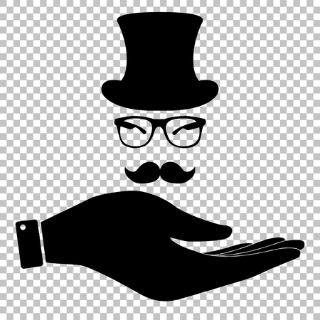 gent: Hipster style accessories design. Save or protect symbol by hand Illustration
