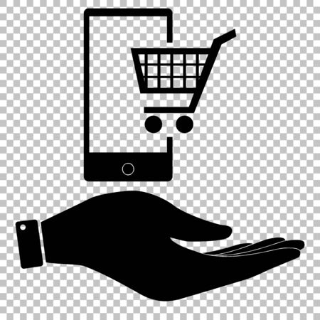 shoping: Shoping on smart phone sign. Flat style icon vector illustration.