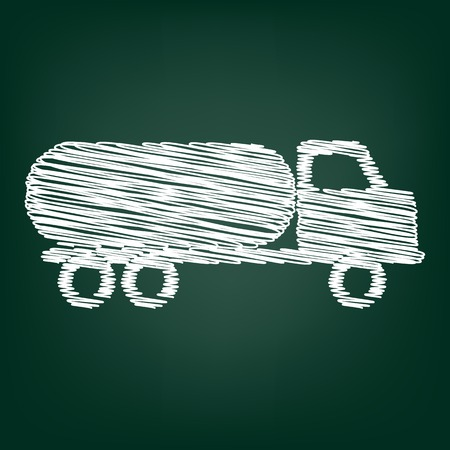 toxic substances: Car transports sign. Flat style icon with chalk effect Illustration