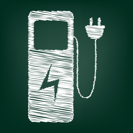 zero emission: Electric car charging station sign. Flat style icon with chalk effect Illustration