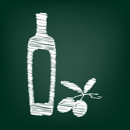 salad dressing: Black olives branch with olive oil bottle sign. Flat style icon with chalk effect