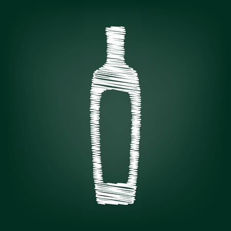salad dressing: Olive oil bottle sign. Flat style icon with chalk effect Illustration