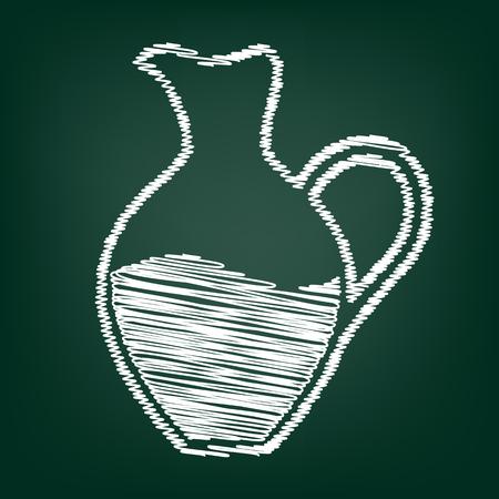 greek pot: segno Amphora. icona di stile piatto con effetto gesso