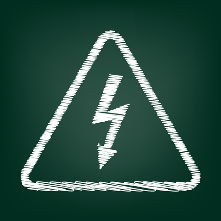 volte: High voltage danger sign. Flat style icon with chalk effect