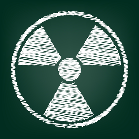 Radiation Round sign. Flat style icon with chalk effect Illustration