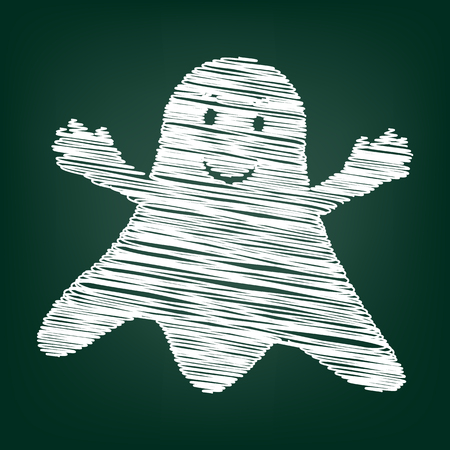 ghastly: Ghost isolated sign. Flat style icon with chalk effect