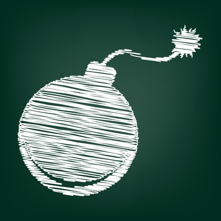 bomb sign: Bomb sign. Flat style icon with chalk effect Illustration