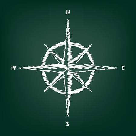 rosa de los vientos: El viento se levant� signo. icono de estilo plana con efecto tiza