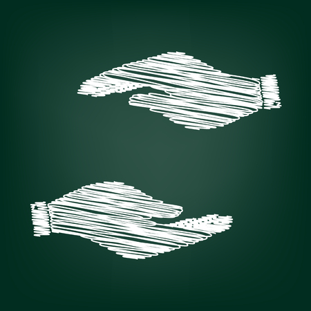 www arm: Hand sign. Flat style icon with chalk effect