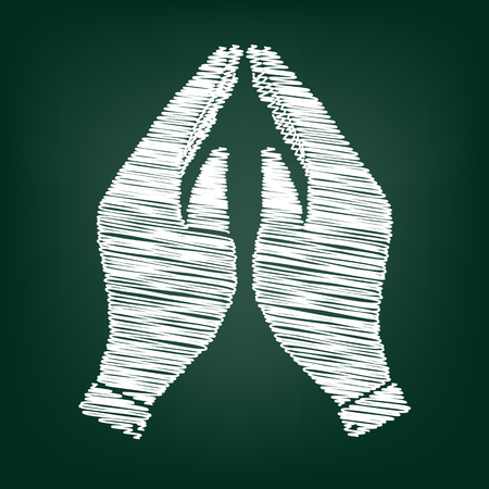 www arm: Hand icon. Prayer symbol. Flat style icon with chalk effect