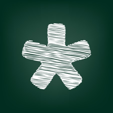 reference point: Asterisk star sign. Flat style icon with chalk effect Illustration