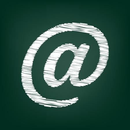 e mailing: Mail sign. Flat style icon with chalk effect Illustration