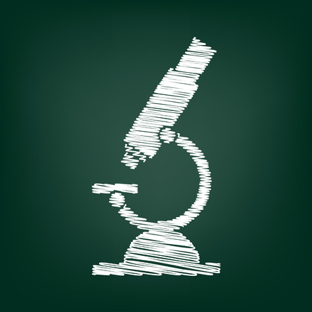 clinical laboratory: Microscope sign. Flat style icon with chalk effect