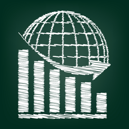 declining: Declining graph  with earth. Flat style icon with chalk effect Illustration