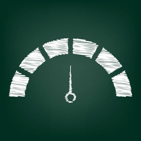 warning indicator: Speedometer sign. Flat style icon with chalk effect Illustration