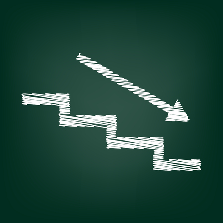 stair: Stair down with arrow. Flat style icon with chalk effect