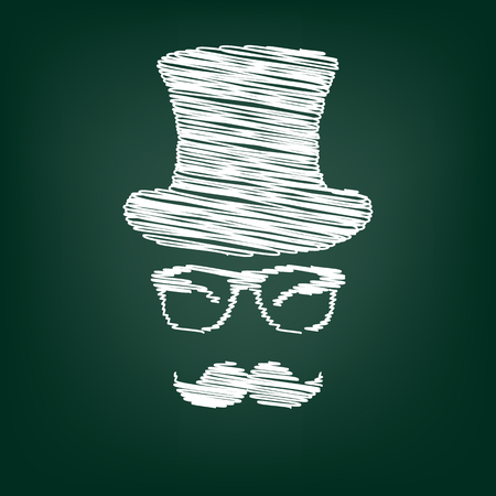 gent: Hipster style accessories design. Flat style icon with chalk effect