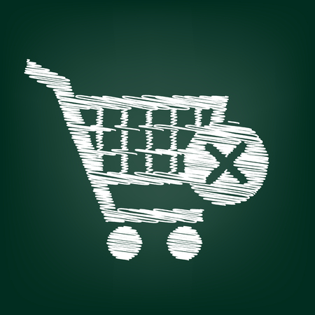 shoppingcart: Shopping Cart and X Mark Icon, delete sign. Flat style icon with chalk effect