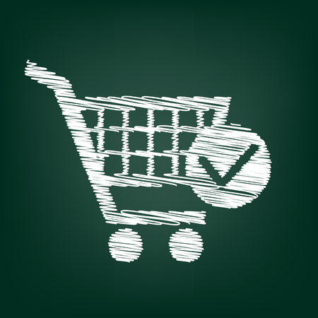 shoppingcart: Shopping Cart and Check Mark Icon. Flat style icon with chalk effect Illustration