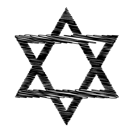 magen: Star. Shield Magen David. Symbol of Israel with scribble effect