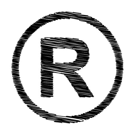 dispensation: Registered Trademark sign. Flat style icon with scribble effect