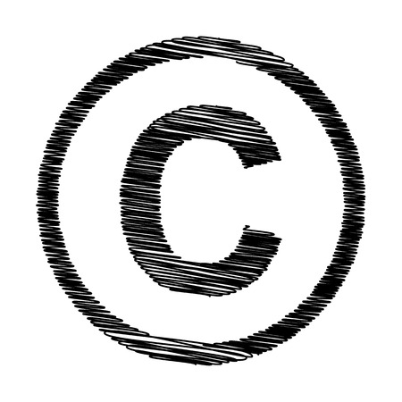 copyright symbol: Copyright sign. Flat style icon with scribble effect